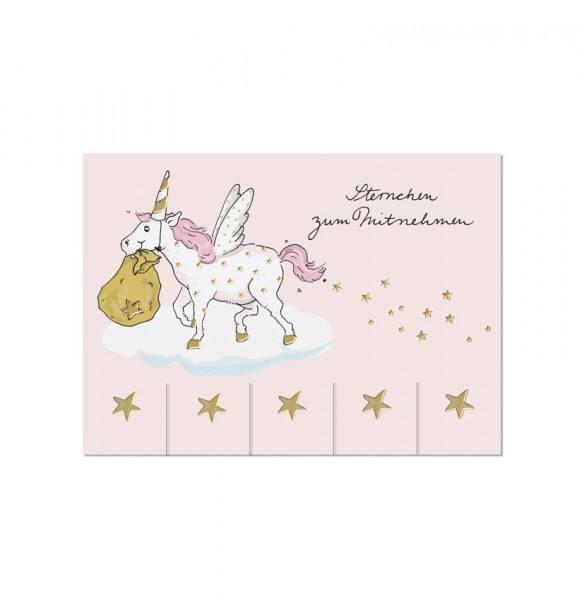 Krima & Isa - Postkarte Einhorn Sterne
