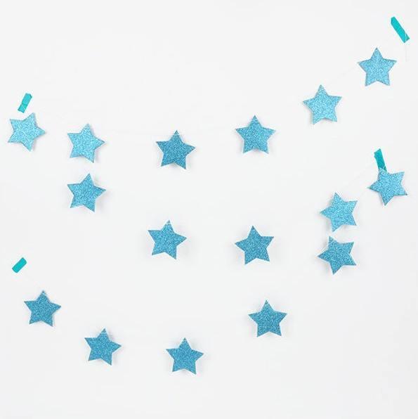 Girlande Set Sterne Glitzer hellblau