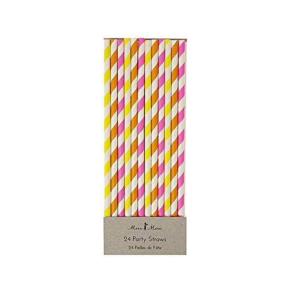 Meri Meri - Strohhalme Streifen neon