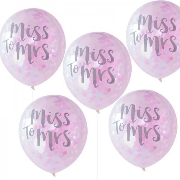 Team Bride Ballons Konfetti pink
