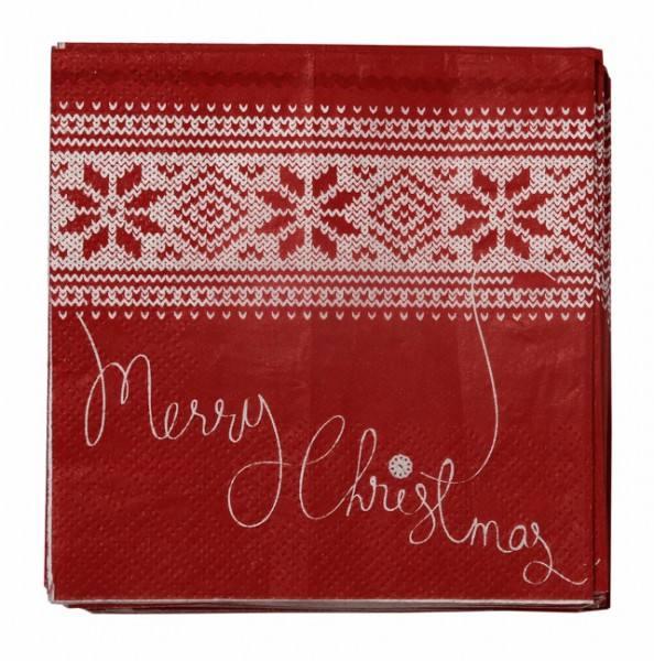 Knitted Servietten Merry Christmas