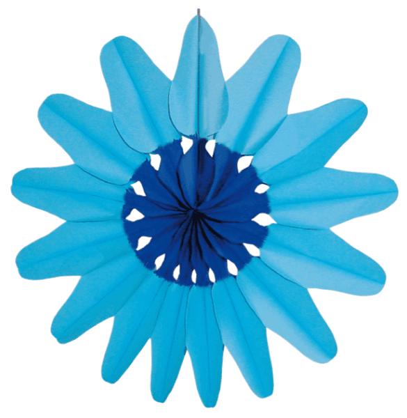Papier Rosette Blüte blau 2 farbig