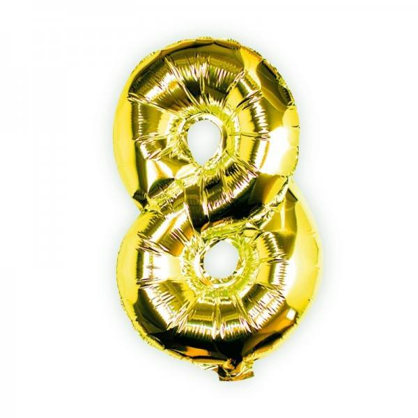 Ballon gold Zahl 8
