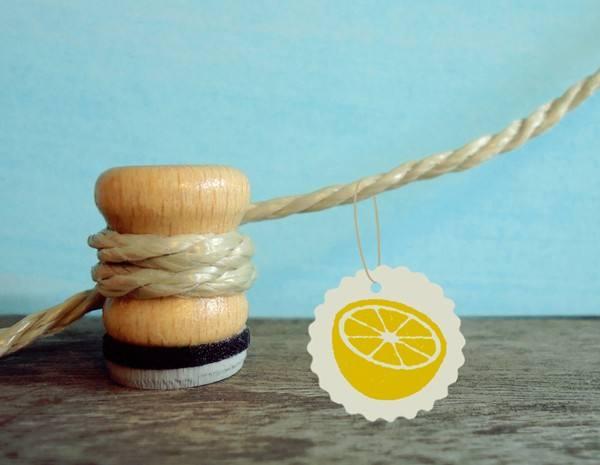 Stempel Orange oder Zitronen Hälfte