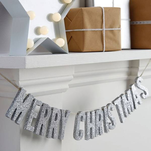 Christmas Metallics - Merry Christmas Girlande silber