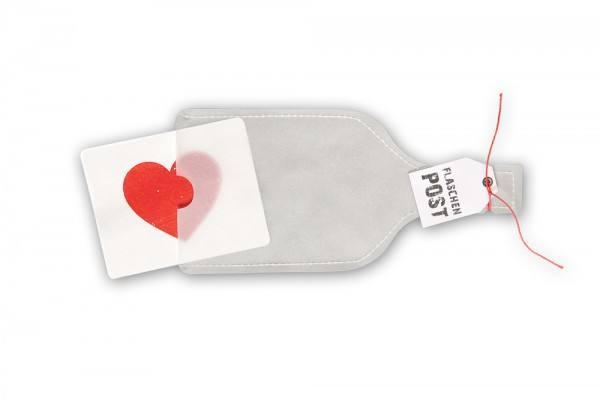 Karte Flaschenpost Herz