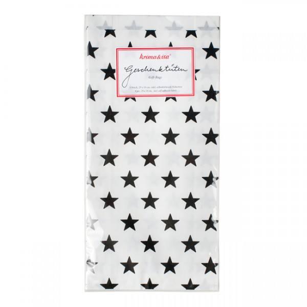 Krima & Isa Geschenktüten weiß mit schwarzen Sternen