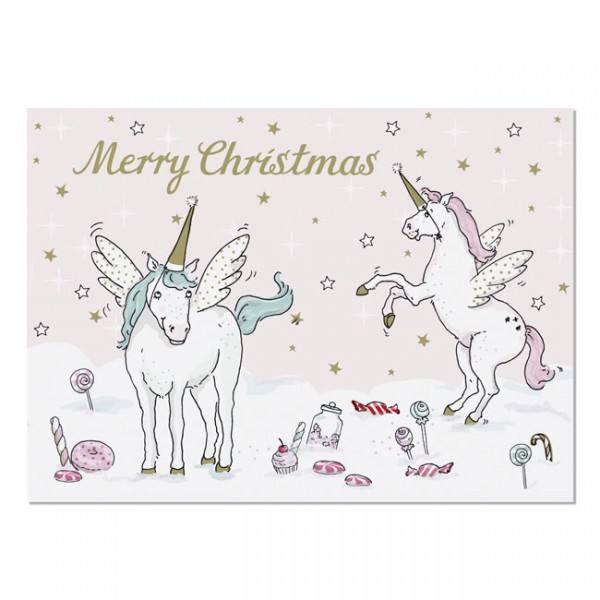 Krima & Isa - Postkarte Einhorn Weihnachten