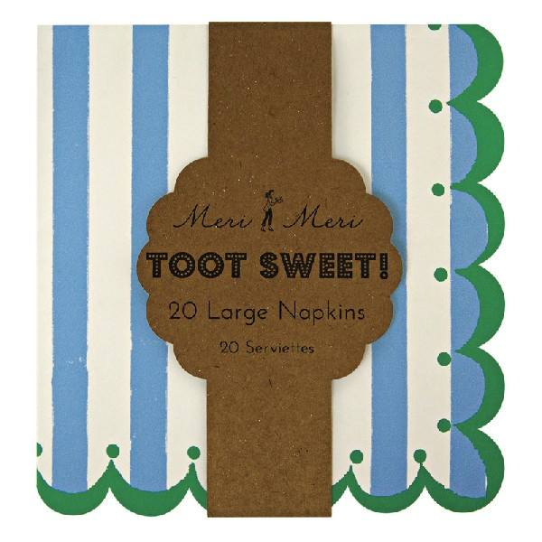 Meri Meri - Servietten groß Toot Sweet blau