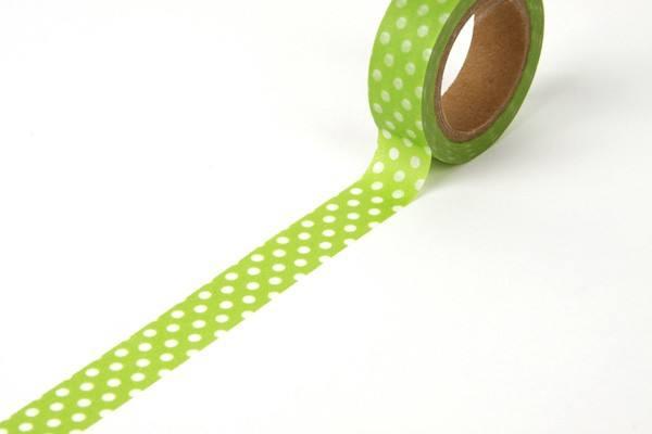 Reispapier Tape hellgrün/weiss Punkte