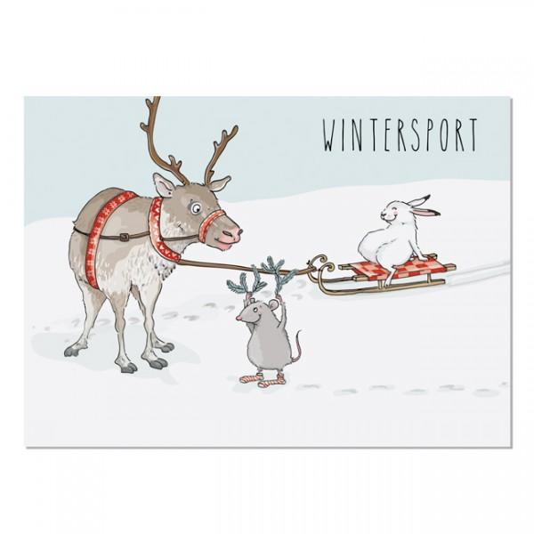 Krima & Isa - Postkarte Wintersport