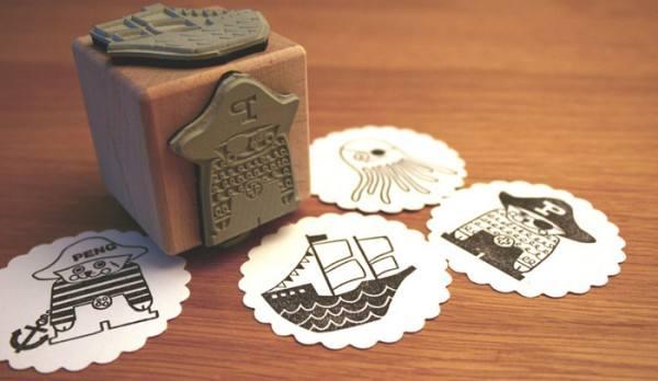 Holzstempelwürfel Pirat