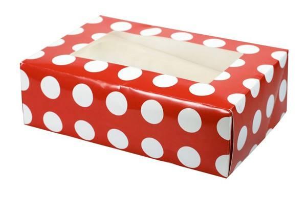 6er Cupcake Box rot Punkte