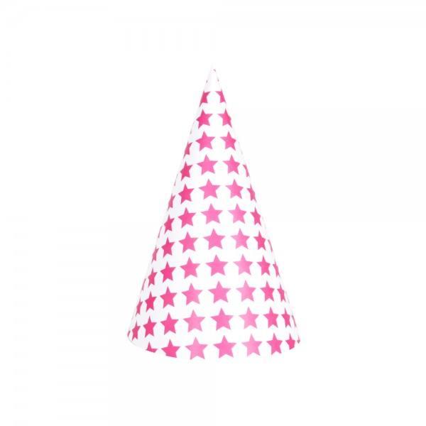 Partyhüte Set pink Sterne