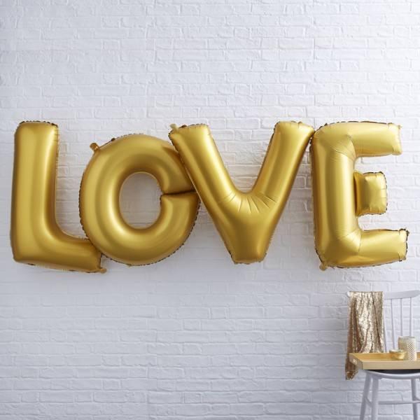 Metallic Riesenballon Love gold