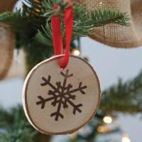 Vintage Noel - Anhänger Holz Schneekristall