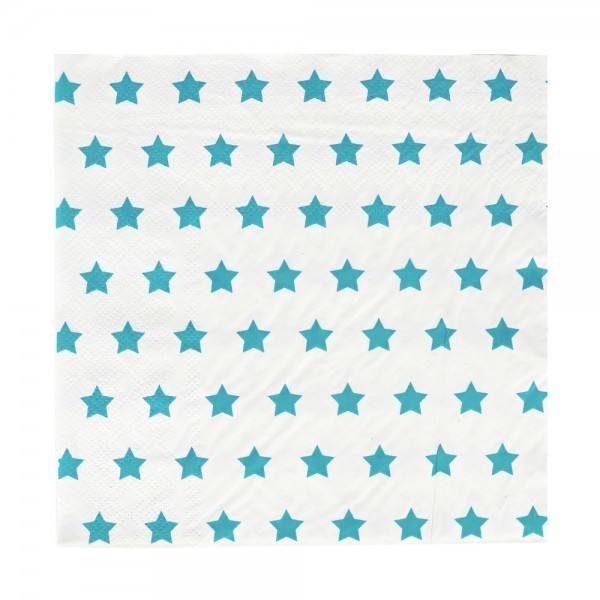Servietten türkisblau Sterne