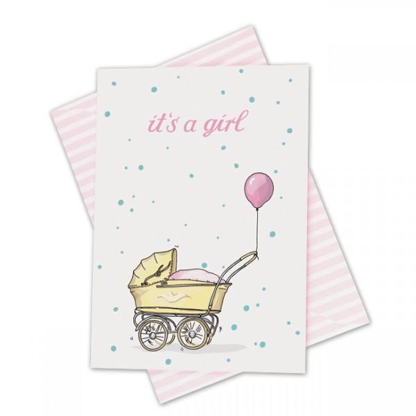 Krima & Isa - Klappkarte Kinderwagen rosa