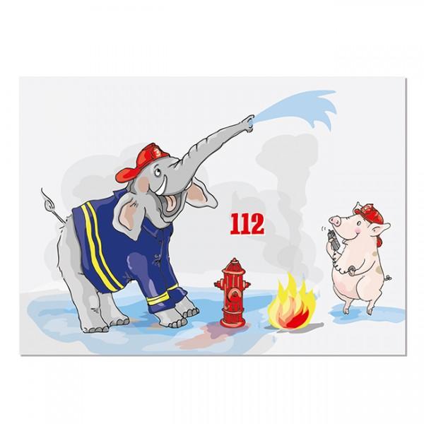 Krima & Isa - Postkarte Feuerwehr Elefant