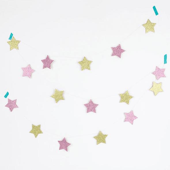 Girlande Set Sterne Glitzer rosa - gold