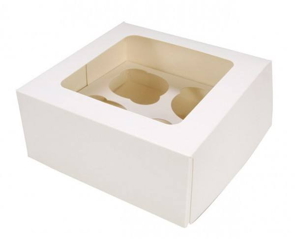 4er Cupcake Box uni weiss