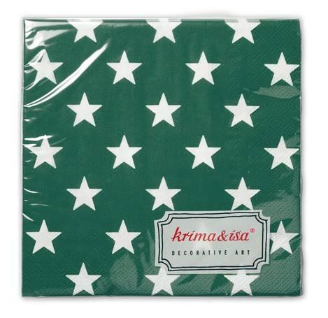 Krima & Isa - Servietten Sterne dunkelgrün