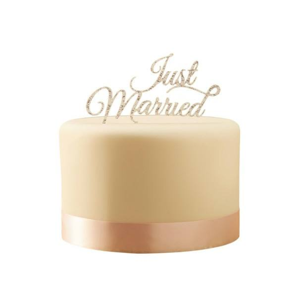Pastel Perfection - Tortendeko Just Married silber