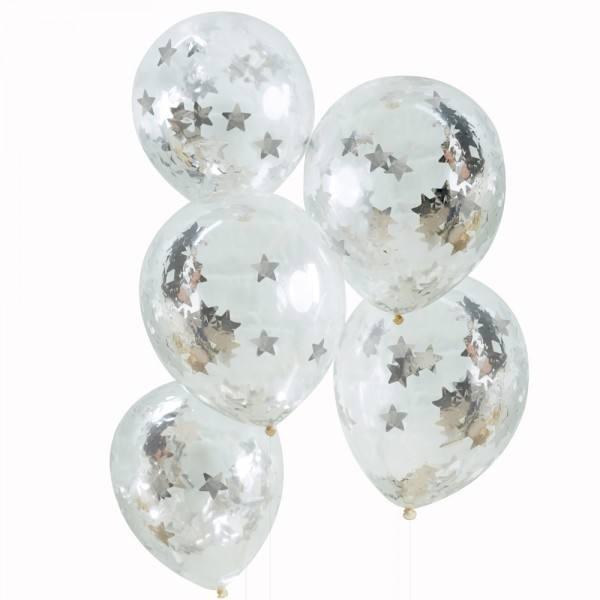 Metallic Star - Ballons Sterne silber
