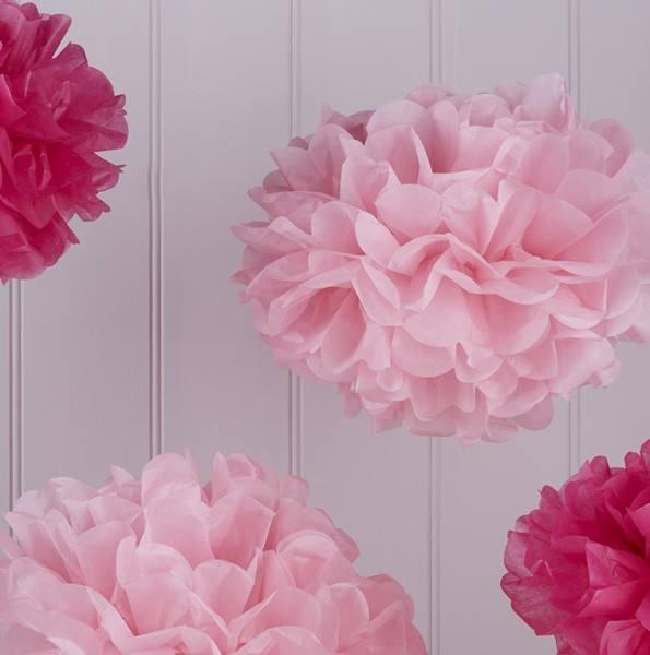 Vintage Lace Pom Pom Set rosa