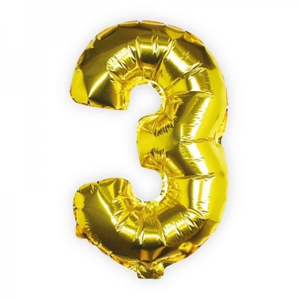 Ballon gold Zahl 3