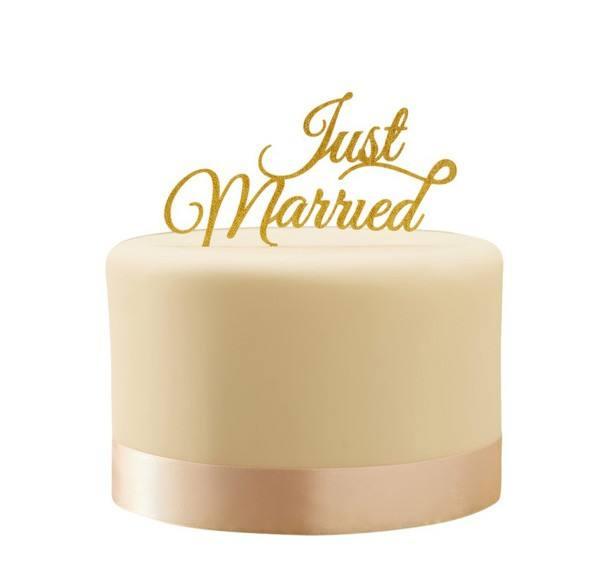 Pastel Perfection - Tortendeko Just Married gold
