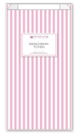 Papiertüten Streifen rosa