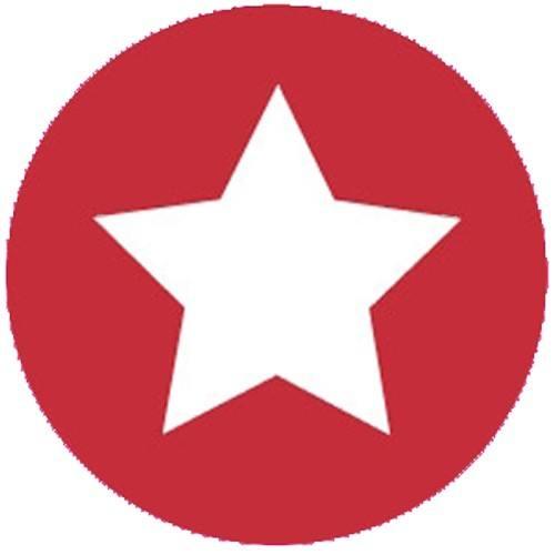 Aufkleber klein Stern rot mit weiss