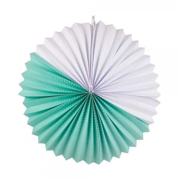 Papier Lampion aqua-weiss