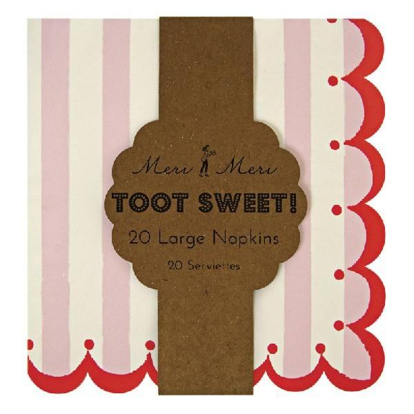 Meri Meri - Servietten groß Toot Sweet rosa