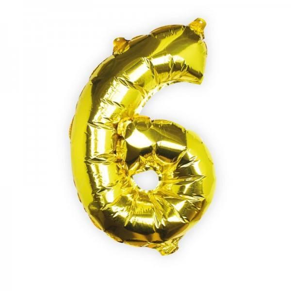 Ballon gold Zahl 6