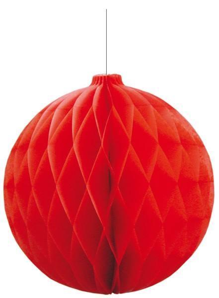 Wabenball Weihnachtskugel rot