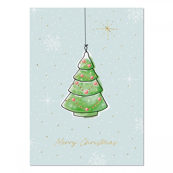 Krima & Isa Postkarte Weihnachtsliebelei Tannenbaum