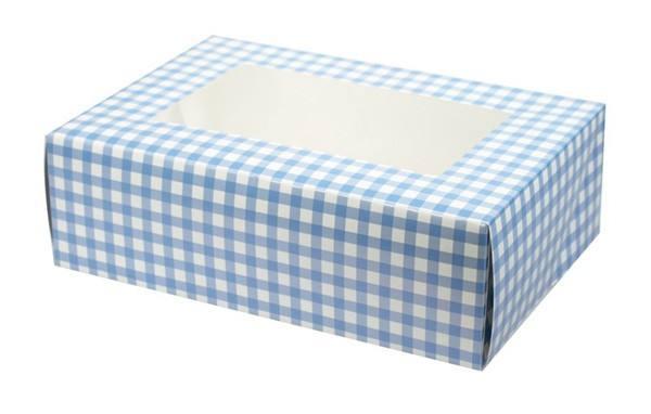 6er Cupcake Box hellblau Karo