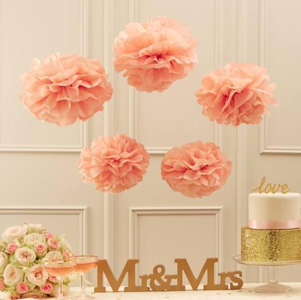 Vintage Lace Pom Pom Set rosa - apricot