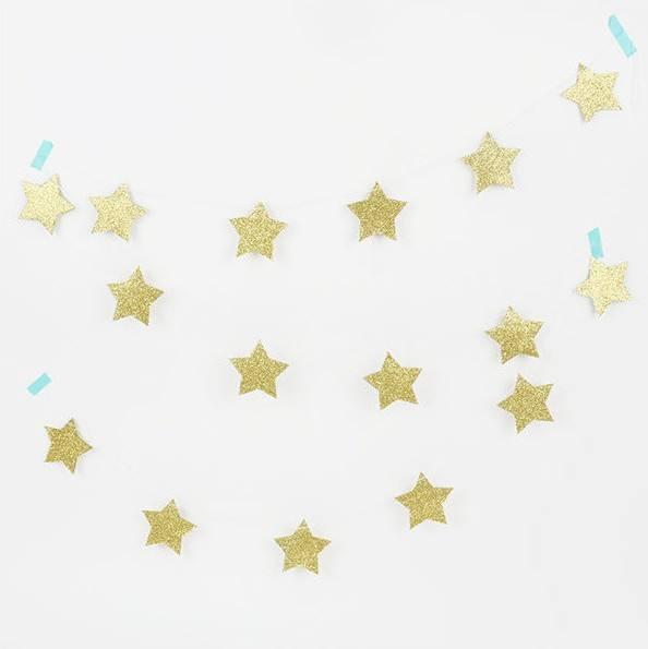 Girlande Set Sterne Glitzer gold