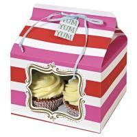 Meri Meri - Cupcake Box groß pink Streifen