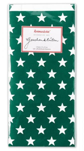 Krima & Isa Geschenktüten Sterne dunkelgrün