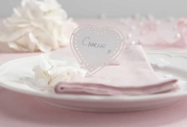 Tischkarten Herz Lace
