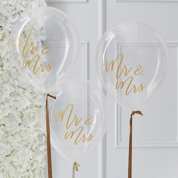 Gold Wedding Ballon Mr & Mrs