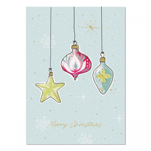 Krima & Isa Postkarte Weihnachtsliebelei Kugeln